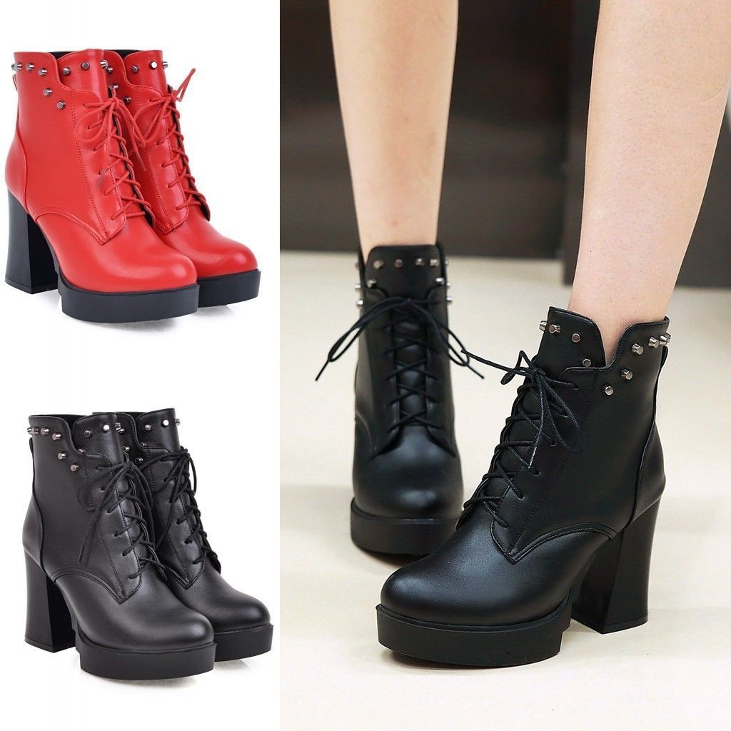 Women's Antiskid Low Chunky Heels Lace Up Ankle High Martin Boots