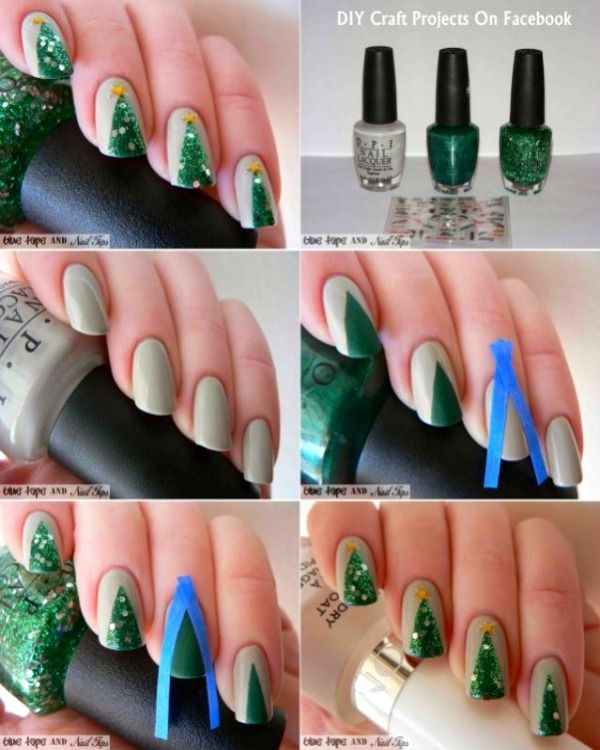Easy DIY Christmas Nail Art Ideas - DIY Glitter Christmas Tree Nails  Tutorial - Easy DIY Christmas Nail Art Ideas Tutorials ❤ Nail Art