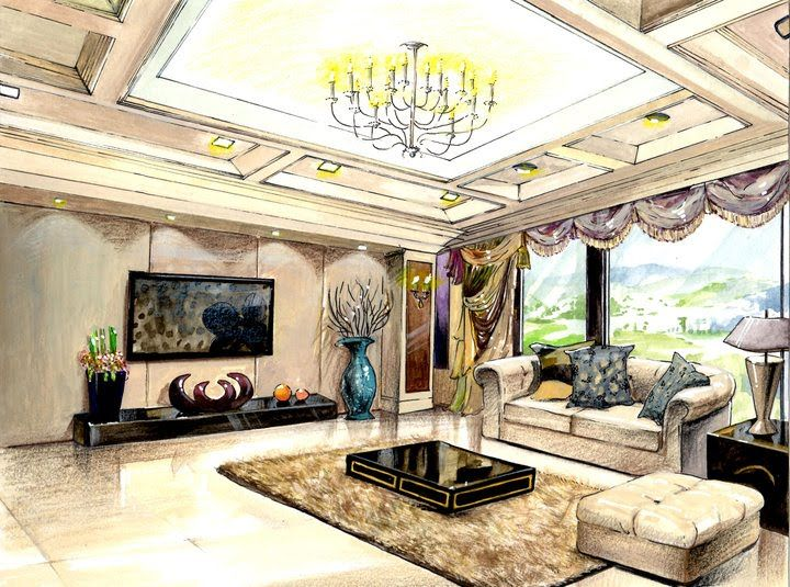Interior Design Watercolor Rendering Google Search การออกแบบภายใน
