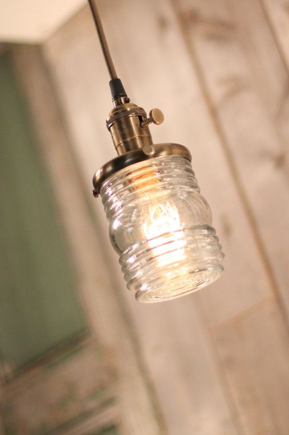 Lighting With Vintage Inspired Jelly Jar Style Glass Shade Over