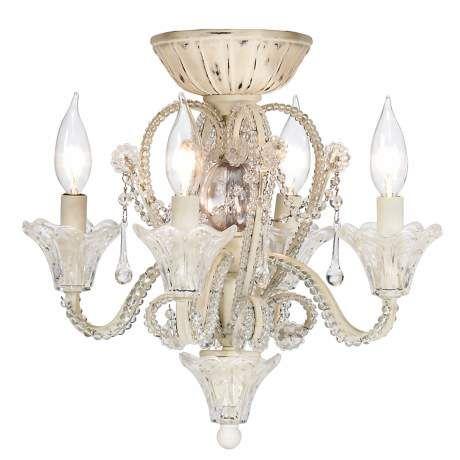 Crystal Bead Candelabra Antique White Ceiling Fan Light Kit