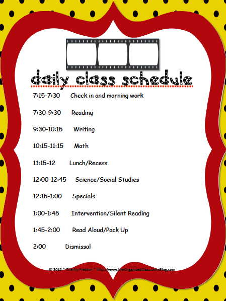 Name That Schedule Linky and a Freebie! - The Organized Classroom Blog  http://www.theorganizedclassroomblog.com/index.php/blog/name-that-schedule-linky-and-a-freebie