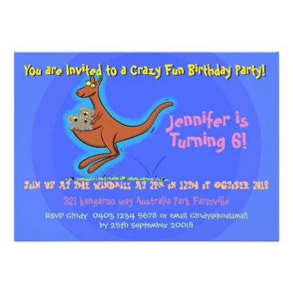 Cute Kangaroo Koalas 6 Years Birthday Invitation