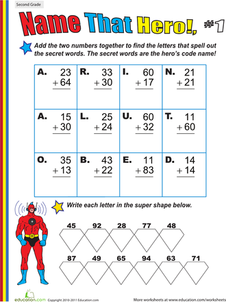 name that hero two digit addition 1 worksheets hero and math. Black Bedroom Furniture Sets. Home Design Ideas