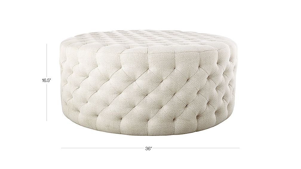 Natural Round Tufted Ottoman Reviews Round Tufted Ottoman