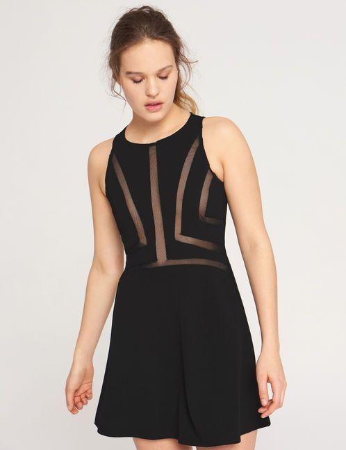 robe à découpes en résille noire