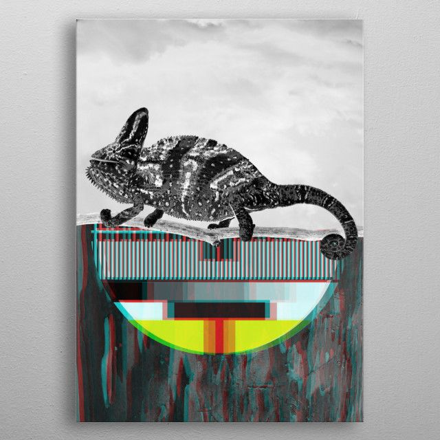 Glitch Chameleon by Primitive Art | metal posters - Displate | Displate thumbnail