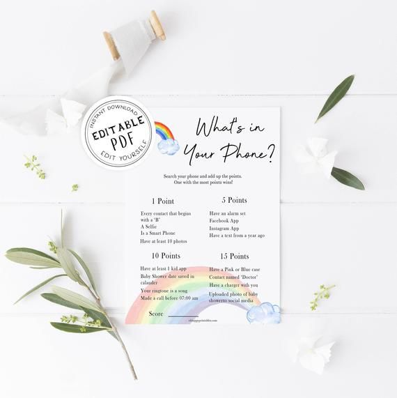 EDITABLE Whats In Your Phone Baby Shower Game, Printable Baby Shower Games, Rainbow Baby Shower Game