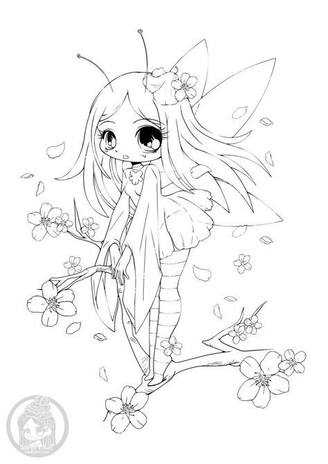 Coloriage fée cherry blossom à imprimer par YamPuff | Chibi coloring pages, Animal coloring ...