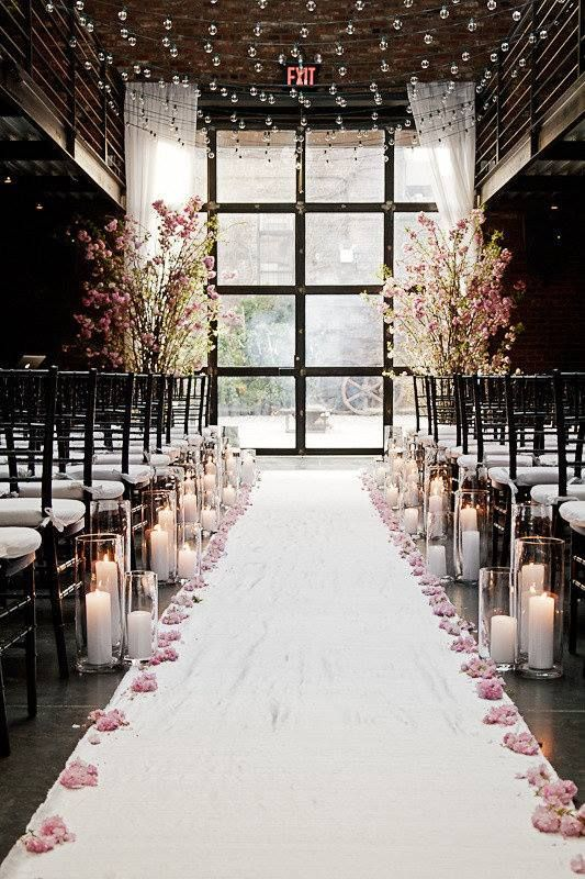 Wedding Aisle Decor Idea Perfect For A Winter Indoor Ceremonyindoor Ceremoniesoutdoor