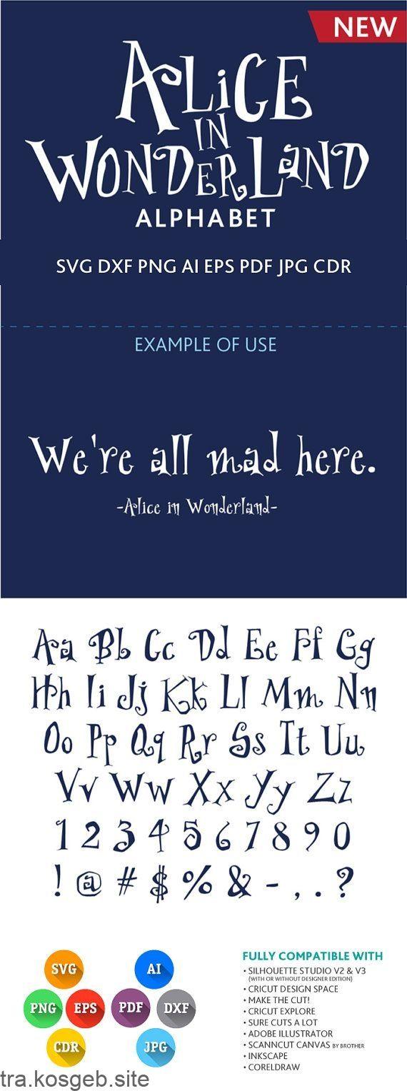 Alice im Wunderland Schriftart schneidbares Alphabet SVG DXF von PremiumSVG - #Alice #Alphabet #DXF #im #PremiumSVG #schneidbares #Schriftart #SVG #von #Wunderland