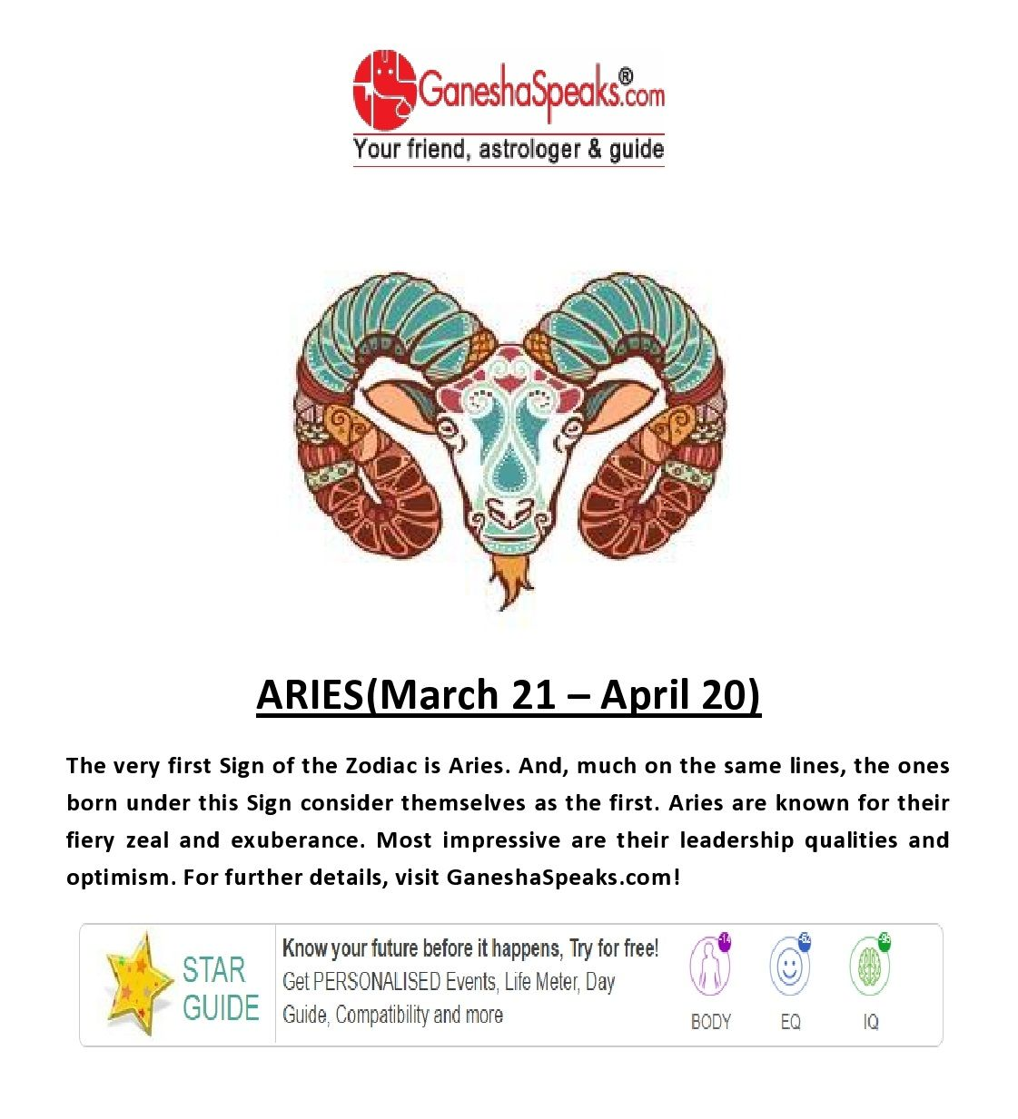 aries horoscope according to indian astrology