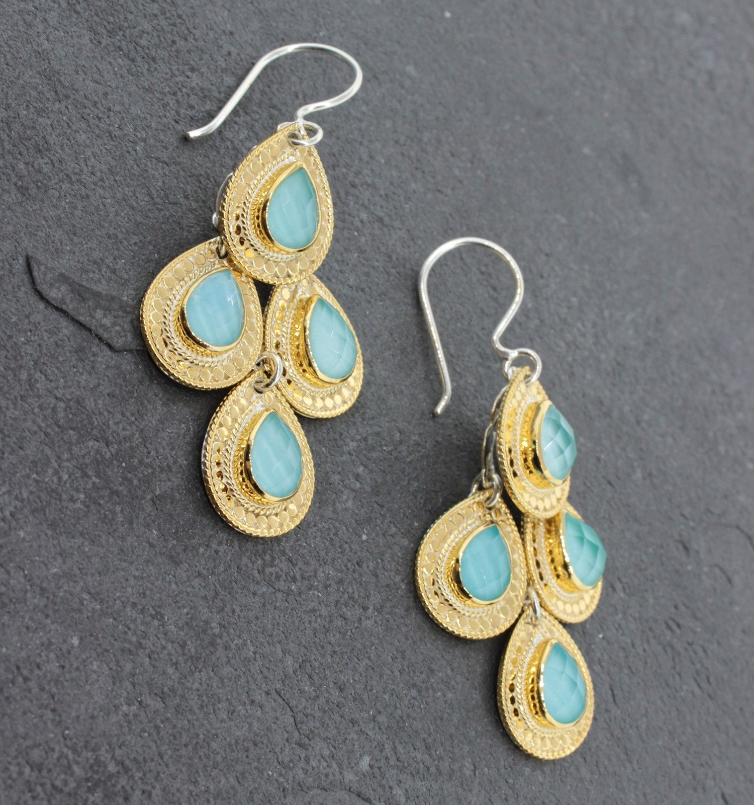 Anna Beck Gili Chandelier Earrings Sterling Silver And 14k Gold Plated Over Turquoise