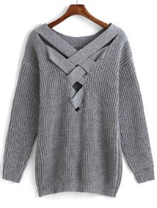 Pullover mit Kreuz Träger und hohlen Design