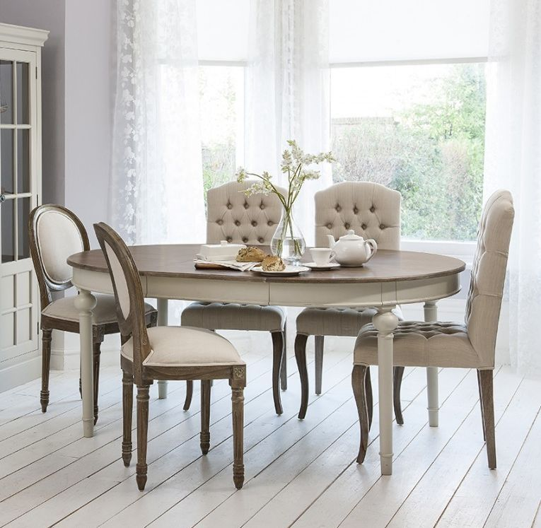 Frank Hudson Maison Cool Grey Dining Set Round Extending With 3 Button And 2 Balloon Back Chairs Frank Hudson Vardagsrum Matsal