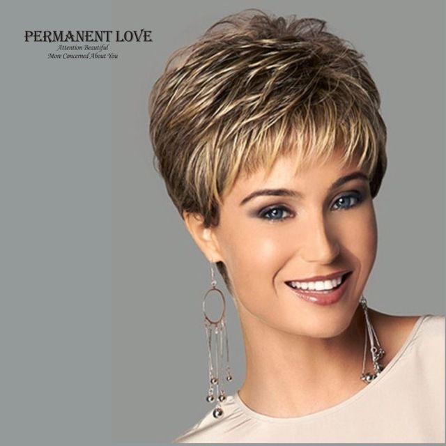 Womens synthetic short wigs pixie cut hairstyle blonde bangs dark roots natural straight hair wigs fashion sexy full wigs peruca
