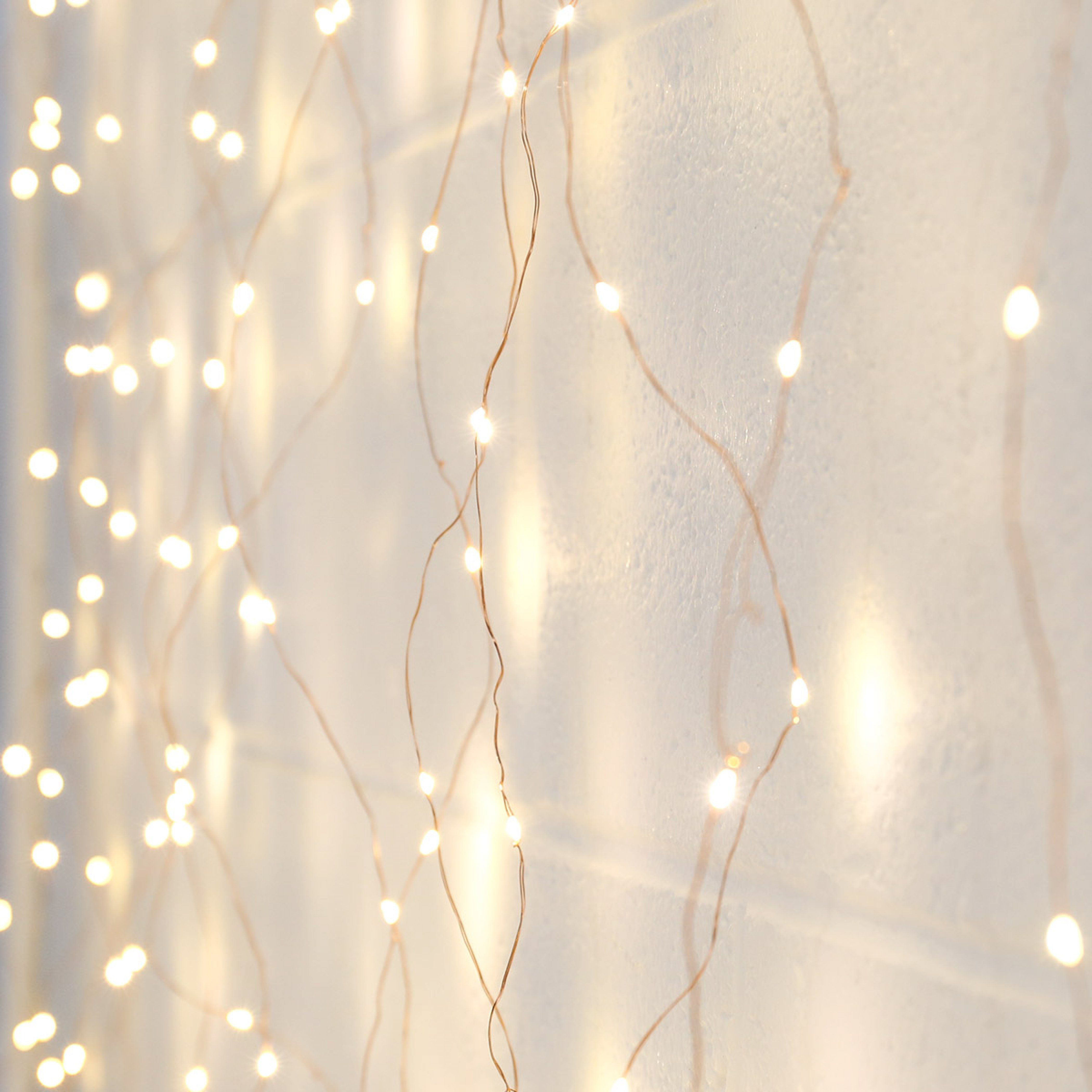 2m X 2m Plug In Copper Firefly Wire Curtain Lights 400 Warm White