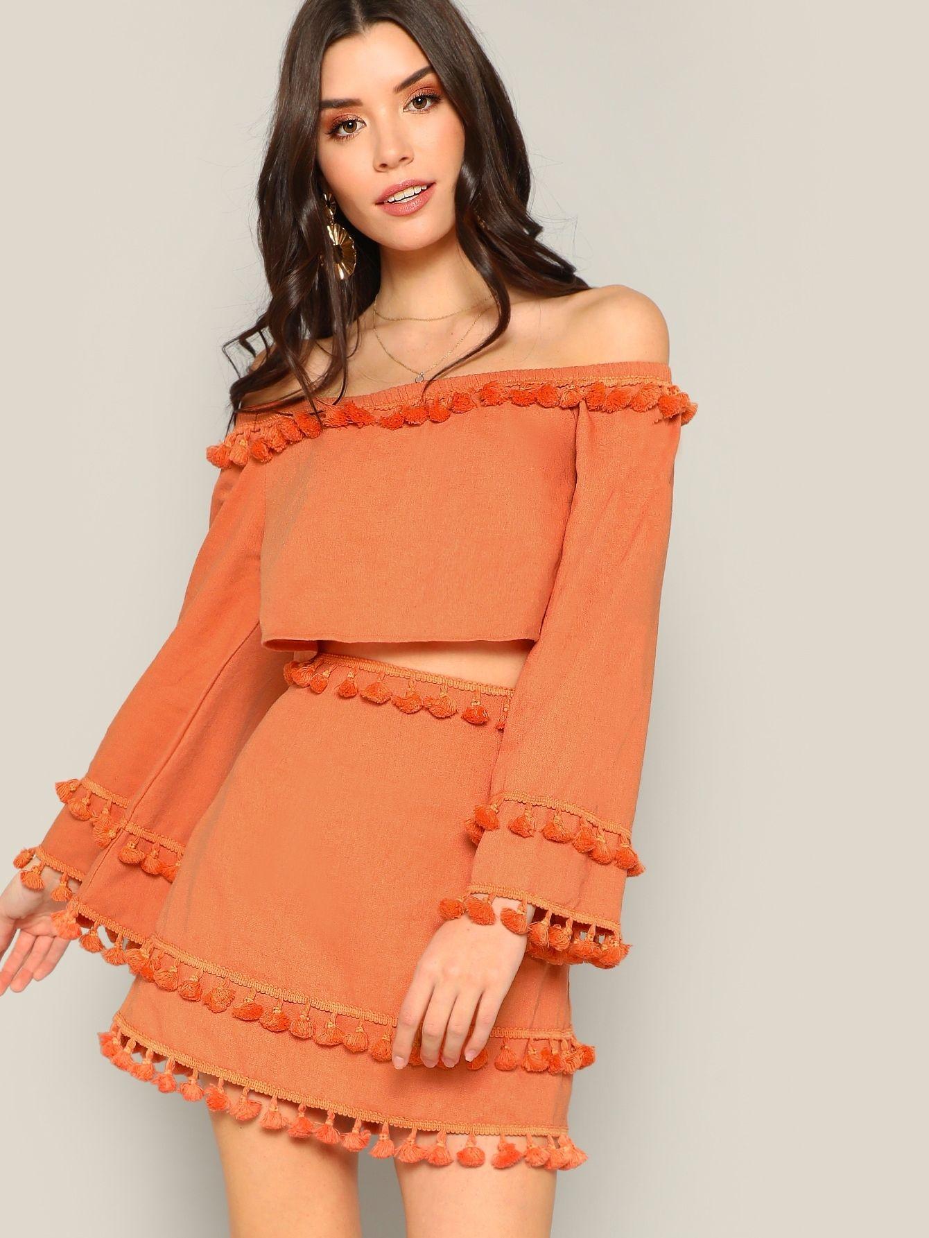 c12c7c5ec2d Off Shoulder Tassel Detail Top and Skirt Set #dress #woman #fashion #trend  #moda #women #twopiece