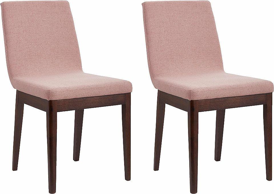 Schöner Rose Ton! Für gesellige Stunden daheim sind die Stühle im 2er-Set wie geschaffen. Sie bieten unkomplizierten und angenehmen Sitzkomfort. Sowohl die Sitz- als auch die Rückenfläche sind gepolstert.
