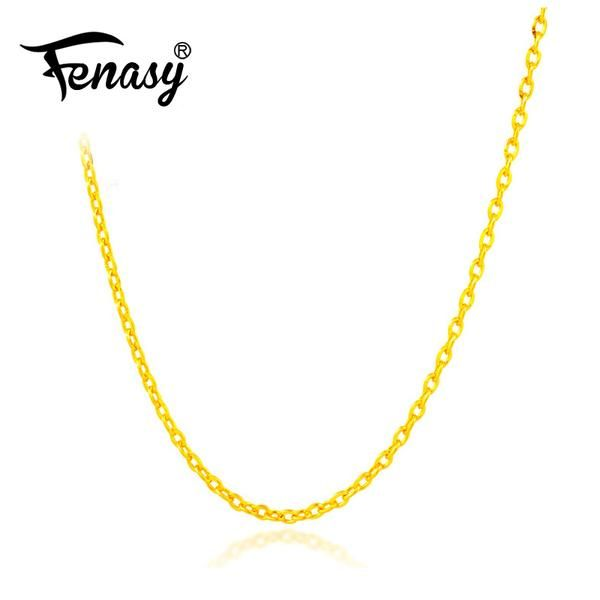 c46965b87dc543 #BestPrice #Fashion FENASY Genuine 18K White Yellow Rose Gold Chain Cost  Price Sale Pure 18K Gold Necklace for love Best Gift For women