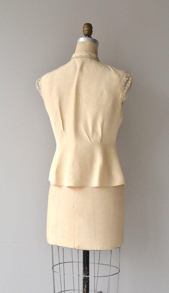 68cd35e3a95df Dauphine blouse vintage 1950s blouse cutout lace by DearGolden