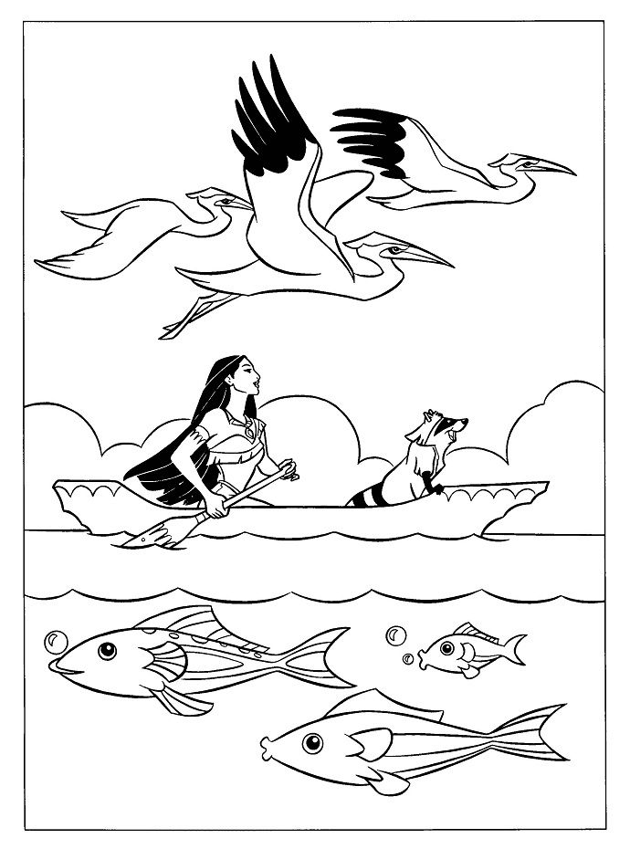 Pocahontas Up Boat With Meeko Coloring Pages | play: coloring ...