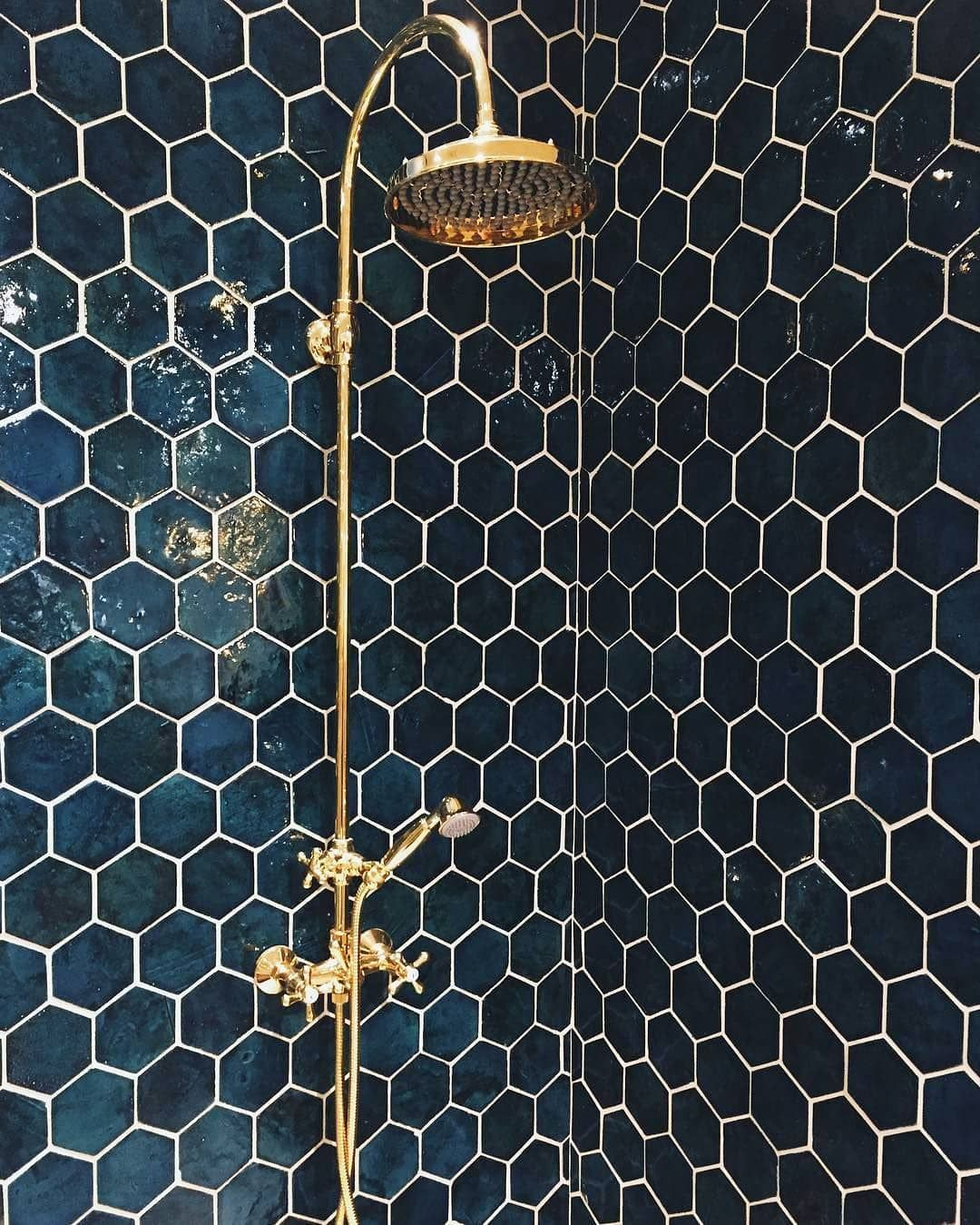 "Photo of S A B O N   H O M E on Instagram: ""Wowza! ? Shower goals!!! ? @copenhagenwilderness, Tile: @mosaikhjornet_glostrup ""Tisvilde Blues Hexagon"". . . . . . . . . #hexagontiles…"""