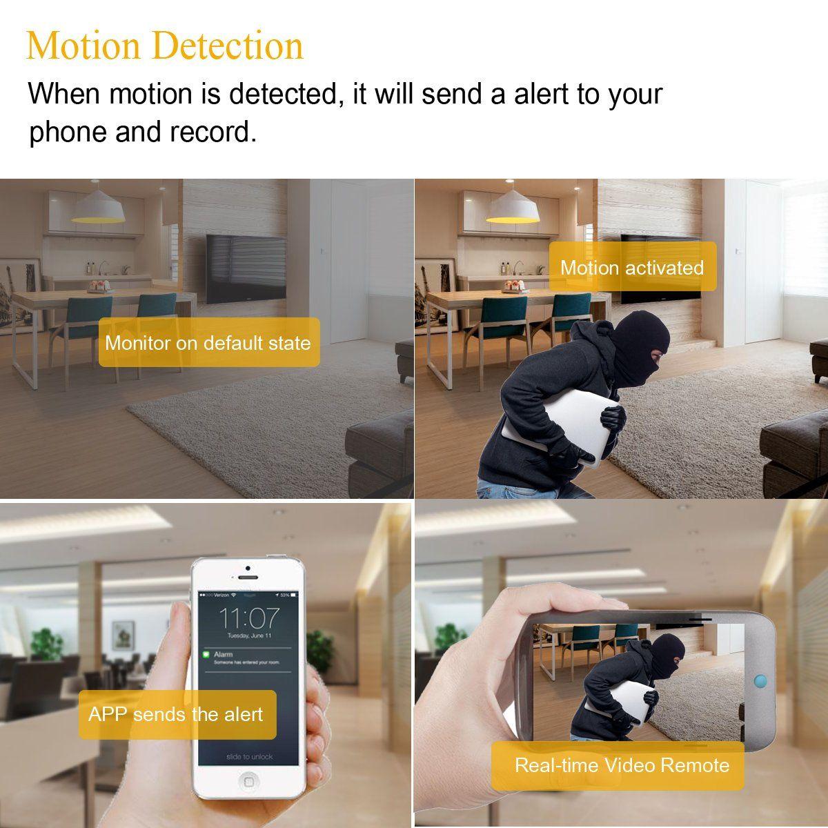 HongSheng WiFi Camera Smoke DetectorHD 1080P Nanny Cam