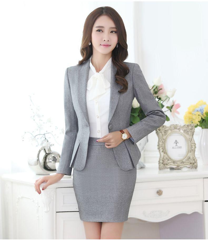 Profesional del otoño traje de negocios para mujer más tamaño falda trajes  del trabajo del OL delgado para mujer de la oficina chaqueta de manga larga  con ... 1c7fdc219662