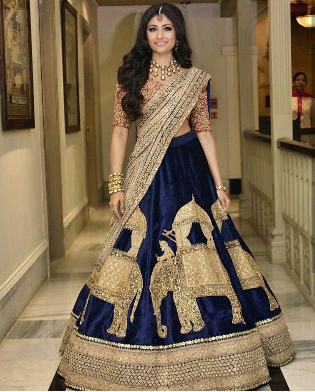 e9f09a9e5f Sabyasachi lehenga #blue #royal#elephant motives #bridal ...