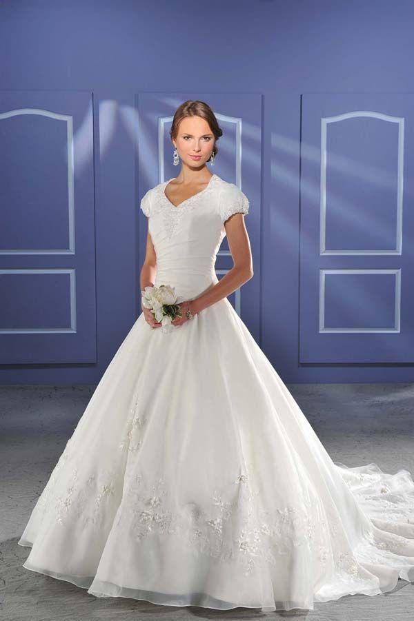 Short Sleeves Chapel Train Wedding Dress For Brides
