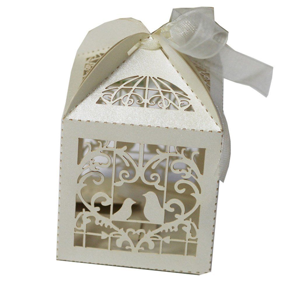 50 Pack White Love Birds Laser Cut Favor Candy Box Bomboniere with ...