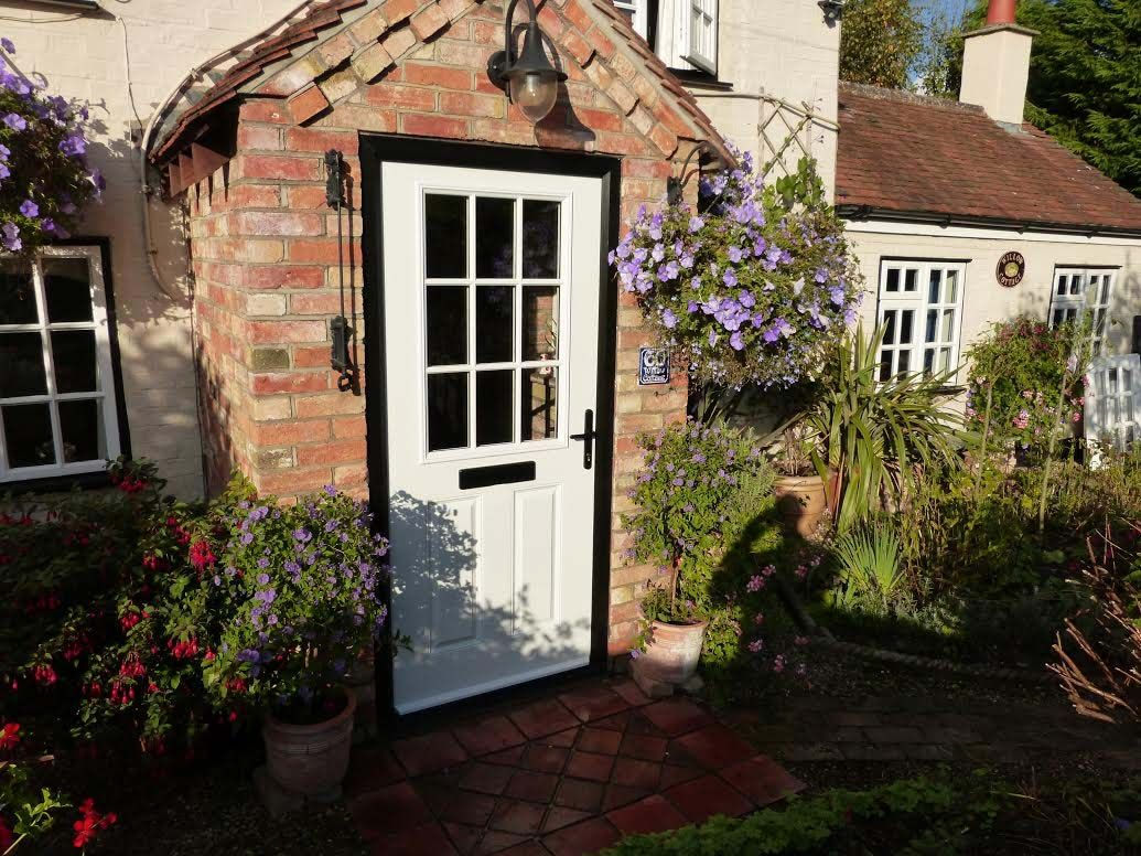 2 Panel 1 Grill Cottage Style Composite Door in White | Composite ...
