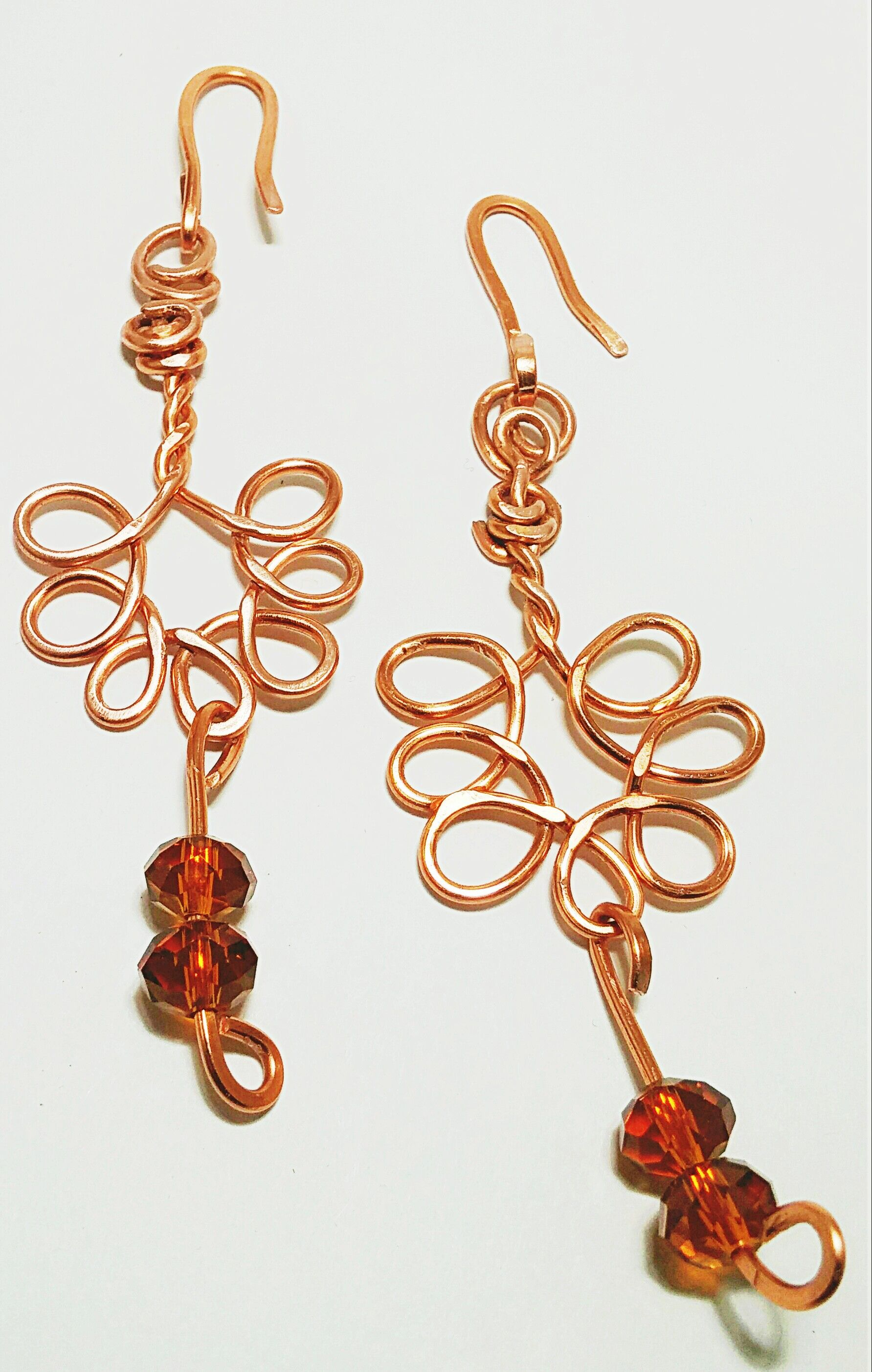 Hammered copper wire earrings. Chandelier style with crystal beads ...