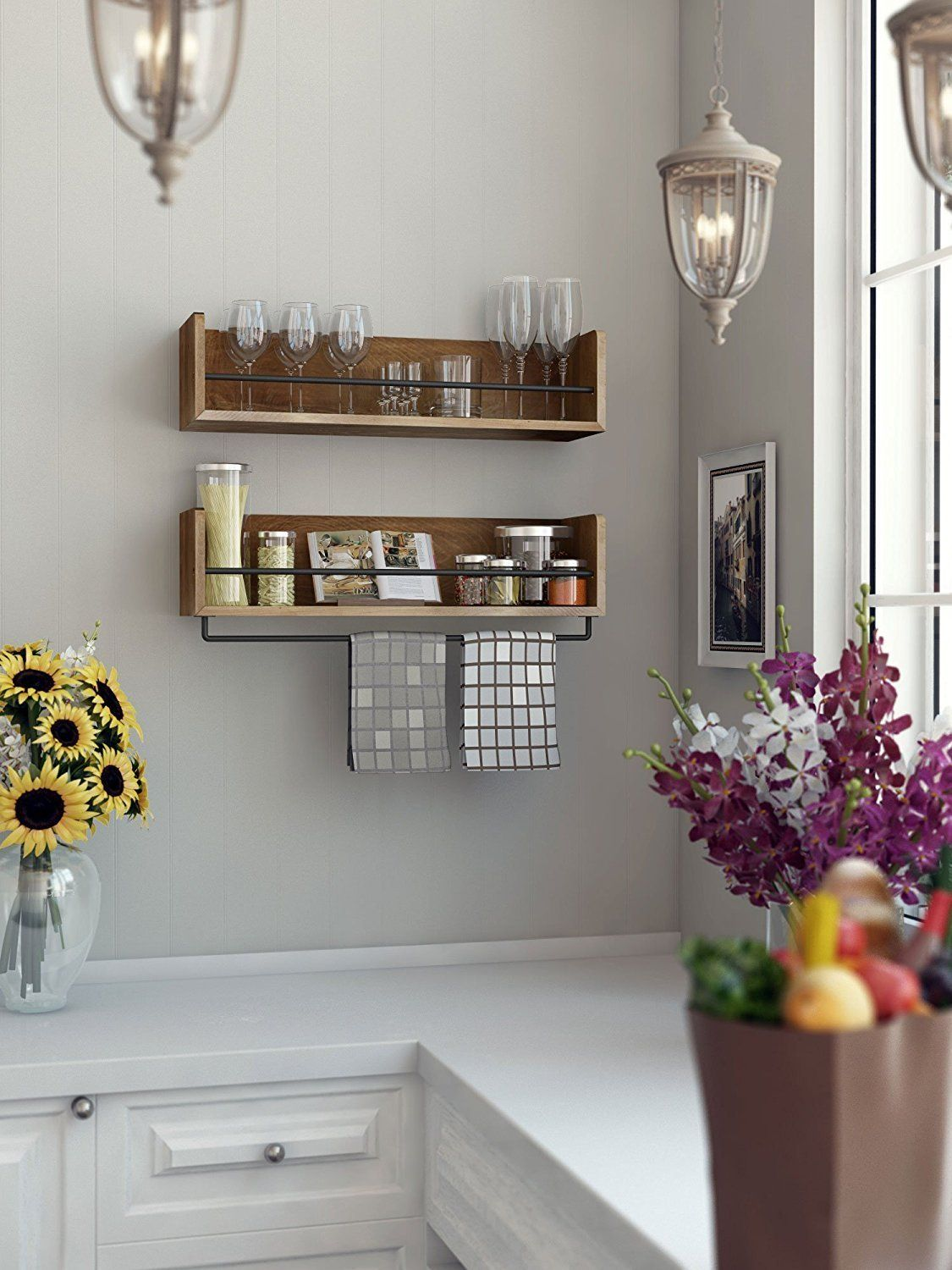 Rustic Kitchen Wood Wall Shelf with Metal Rail