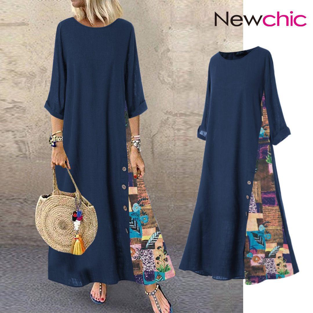 Botón Patchwork Estampado Floral Casual Plus Talla Vestido – NewChic Móvil – sewing ideas