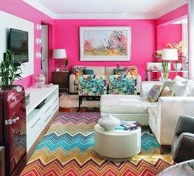 Meu Cantinho Sweet Home Pink Living Room Pink Home Decor Colourful Living Room