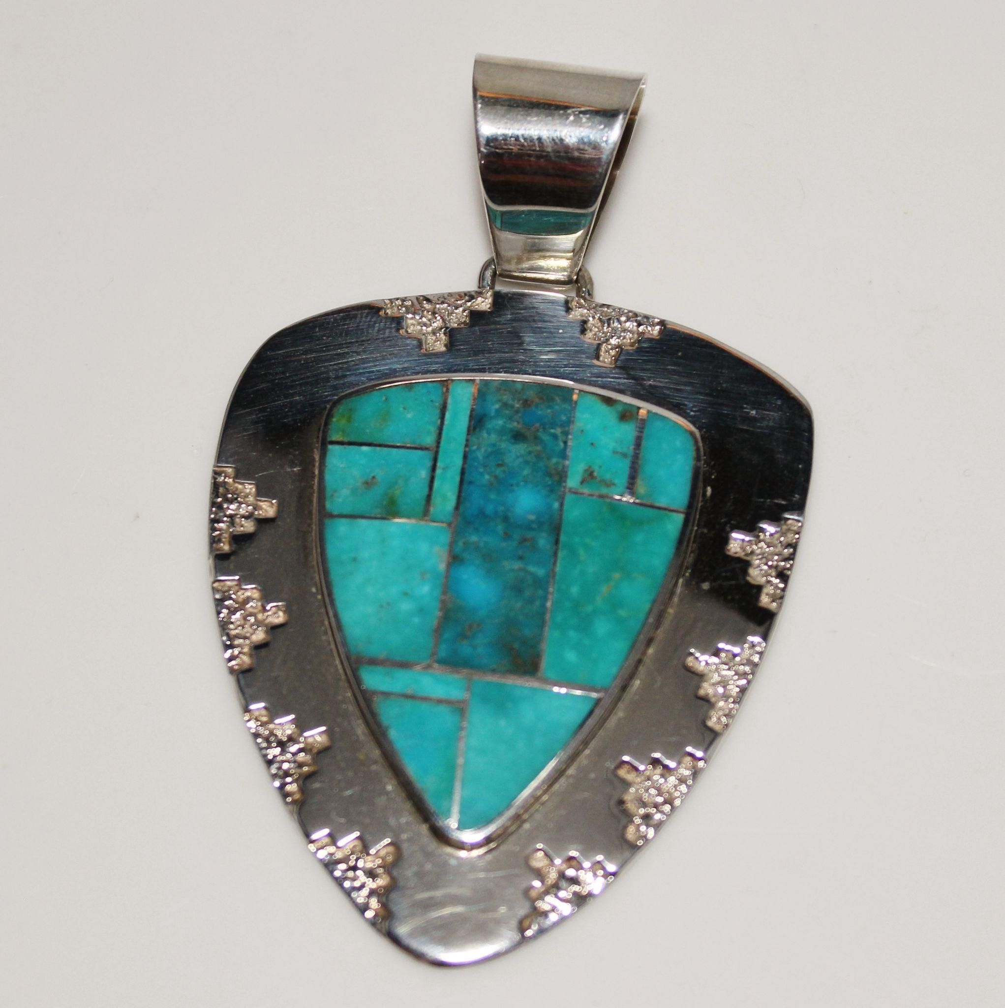 necklace native royston pendant american turquoise livingston front by navajo