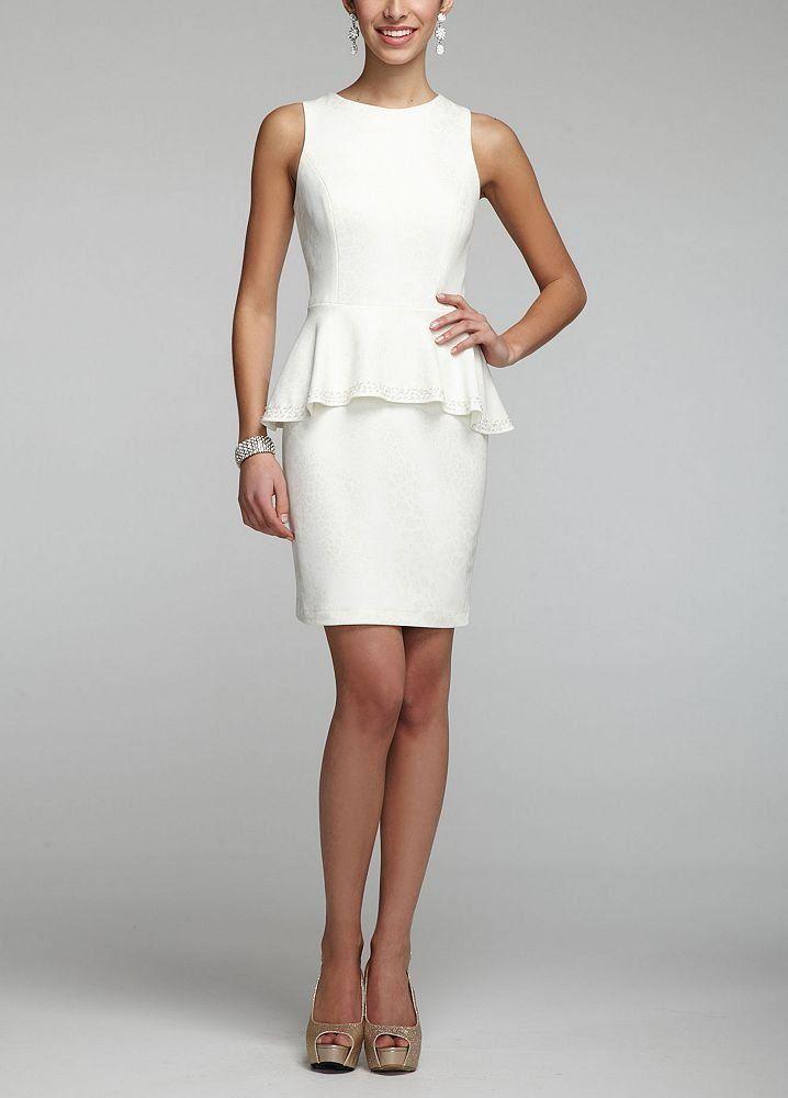Amazon.com: Davids Bridal Sleeveless Stretch Knit Peplum Dress Style 55428D: Clothing