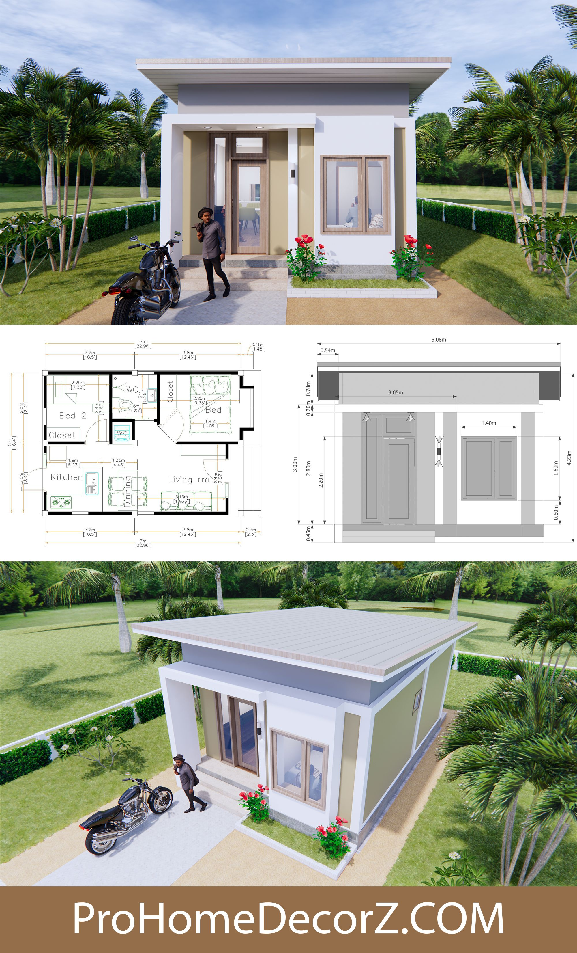 Design My House 5x7 Meters 16x23 Feet 2 Beds House Outside Design Small House Design Plans Small Modern House Plans