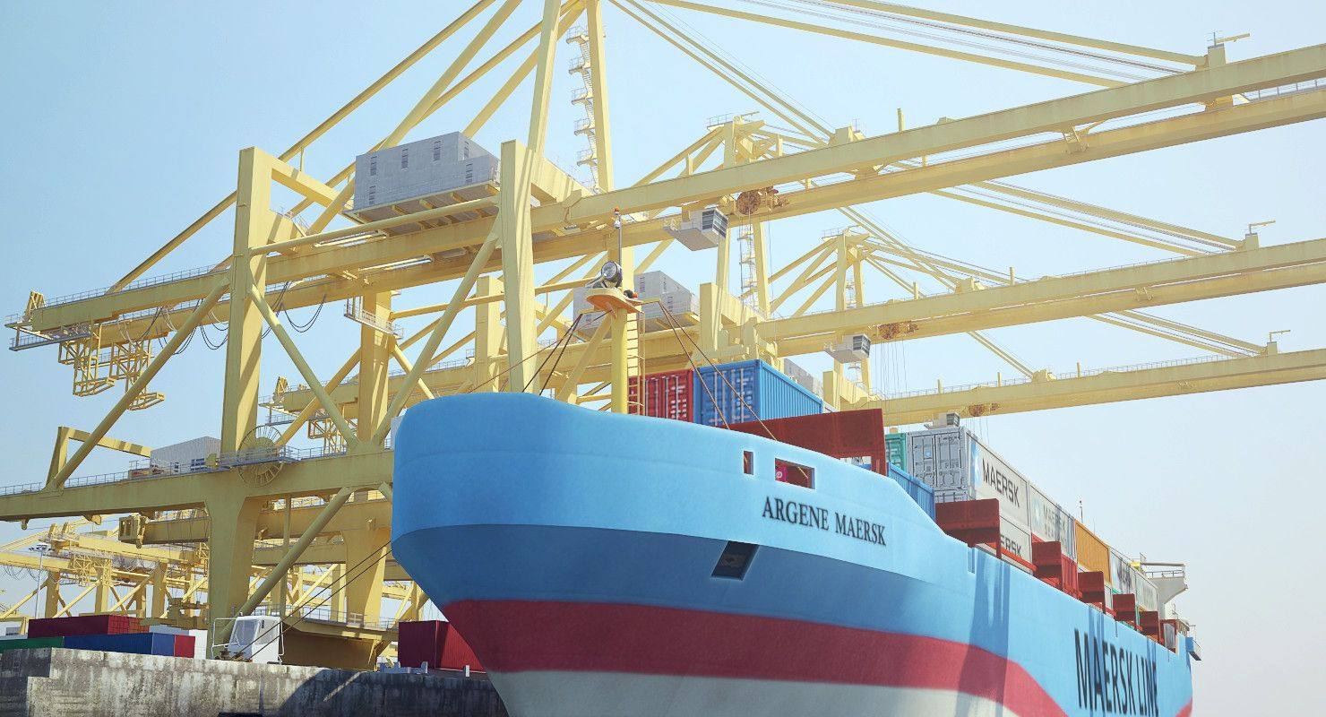 Industrial sea port 3d max in 2020 model ships sea port