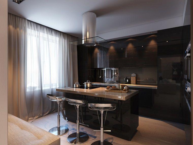 Cocinas Modernas Con Isla 100 Ideas Impresionantes Modern Bar Stools Kitchen Small Room Kitchen Kitchen Design Ideas Dark Cabinets