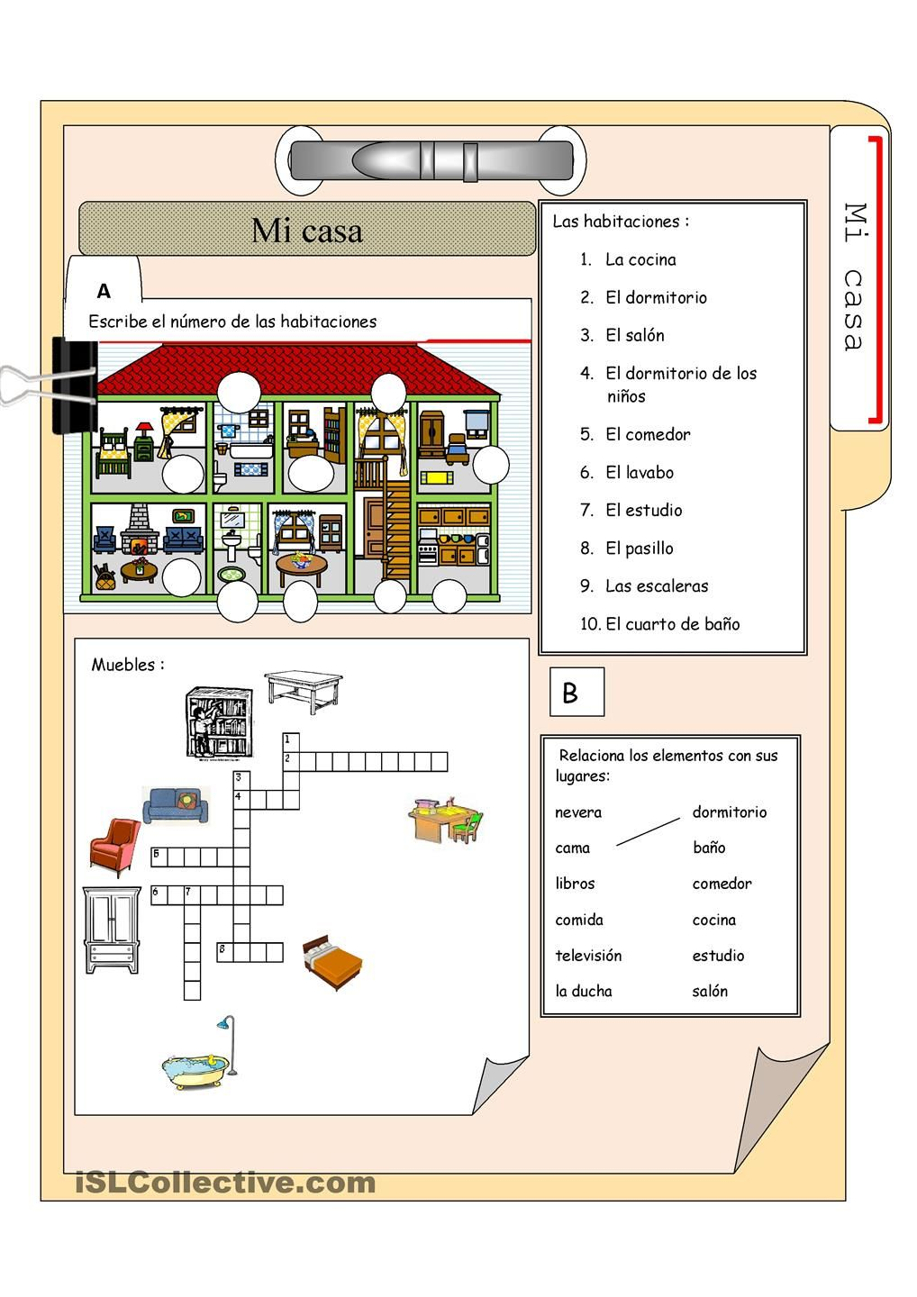 Vocabulary for the house and furniture in spanish free account needed to download