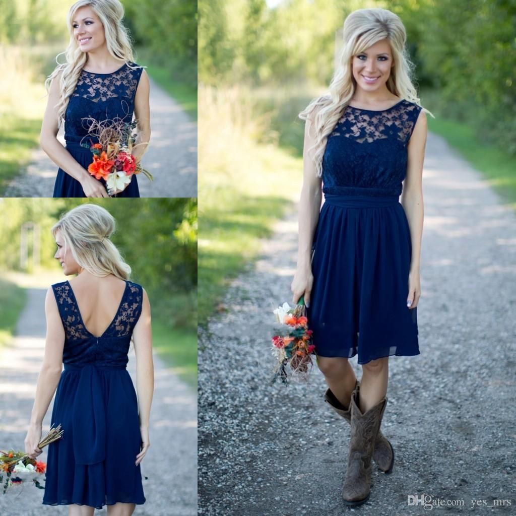 Cheap country bridesmaid dresses 2017 for weddings illusion neck cheap country bridesmaid dresses 2017 for weddings illusion neck chiffon lace navy blue sashes party short knee length maid of honor gowns ombrellifo Image collections