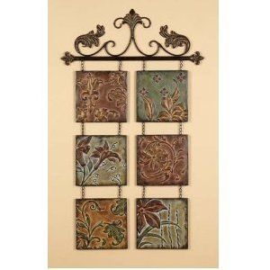 Tuscan Metal Embossed Multi Colored Hand Crafted Hanging Wall Tiles Set Of 6 On Rod