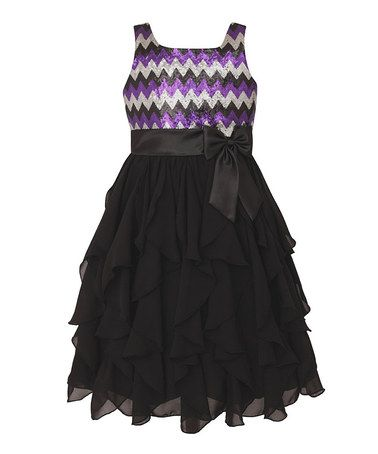 cd7c40dc597a Loving this Purple   Black Chevron Ruffle Dress - Girls on  zulily ...