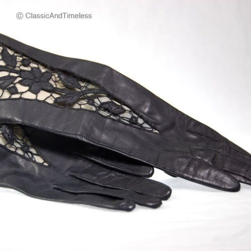 ANTIQUE BLACK LAMBSKIN LEATHER FLOWERS LADIES GLOVES 1920's