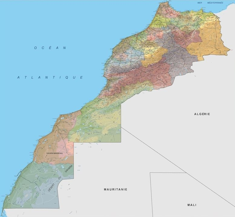 Moroccan map of Morocco with the Western Sahara entirely integrated