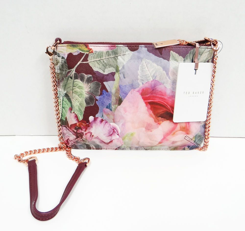 Nwt Ted Baker Aeyla Flower Print Rose Gold Crossbody Bag Oxblood