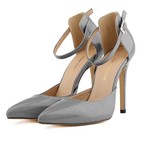 MEI&S Stiletto Femmes Hauts Talons Chaussures Chaussures Bouche Peu Profondes,Gris,36